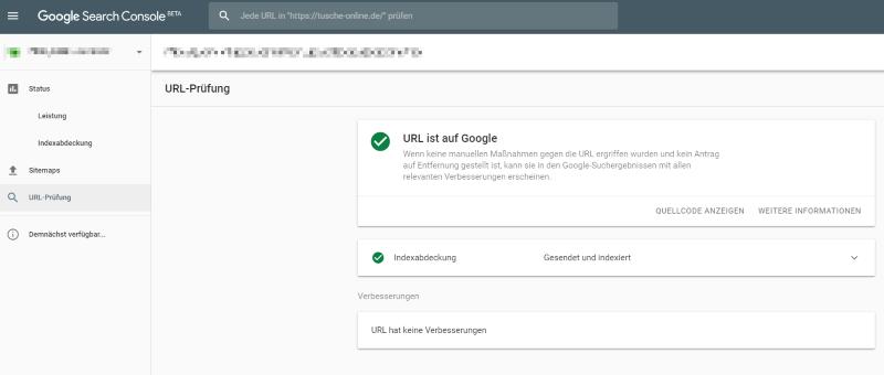 URL-Prüfung mit der Google Search Console