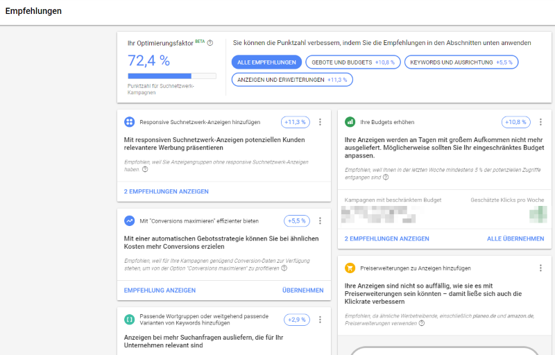 der Optimierungsfaktor in Google Ads