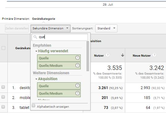 Die sekundäre Dimension in Google Analytics
