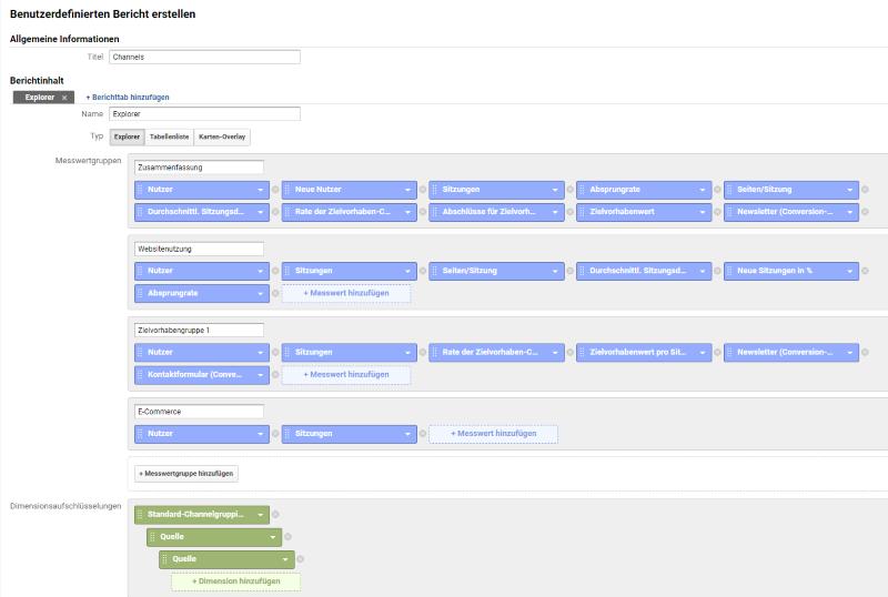 Benutzerdefinierte Berichte in Google Analytic