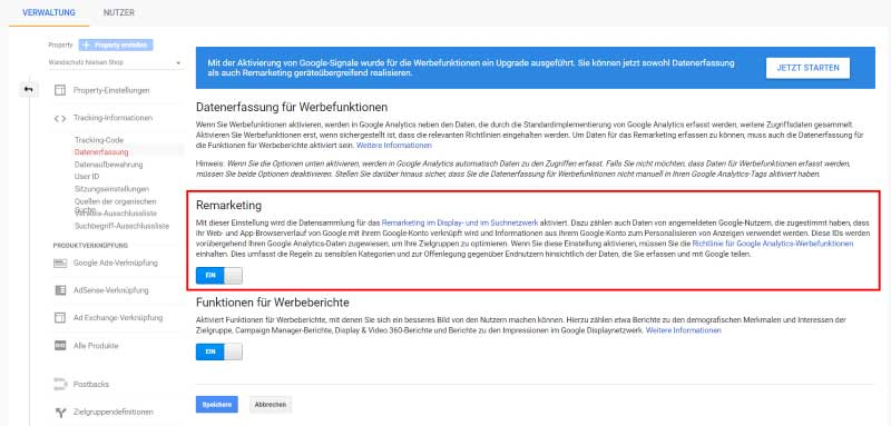 Die Remarketingfunktion in Google Analytics aktivieren