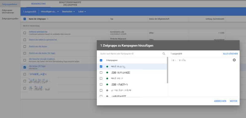 Google Analytics-Zielgruppen hinzufügen in Google Ads