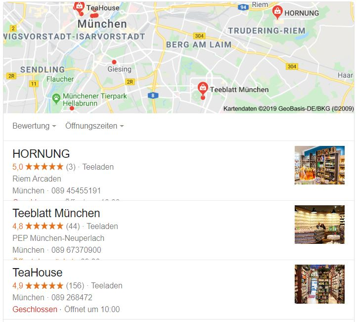 Local Pack zeigt die drei relevantesten Geschäfte in der Umgebung