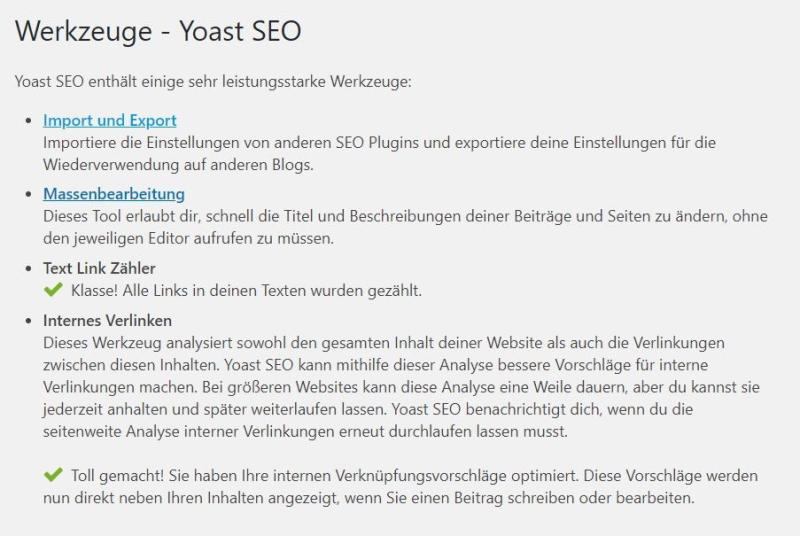 Yoast SEO-Plugin Premium - der Menüpunkt Werkzeuge