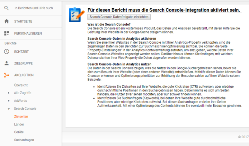 Die Search Console in Google Analytics einrichten