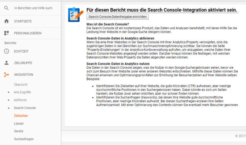 Die Search Console in Google Analytics einrichten