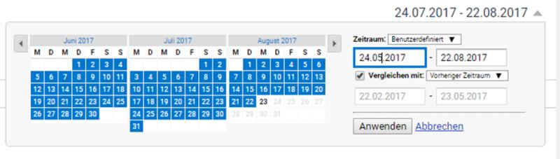 Zeiträume verändern in Google Analytics