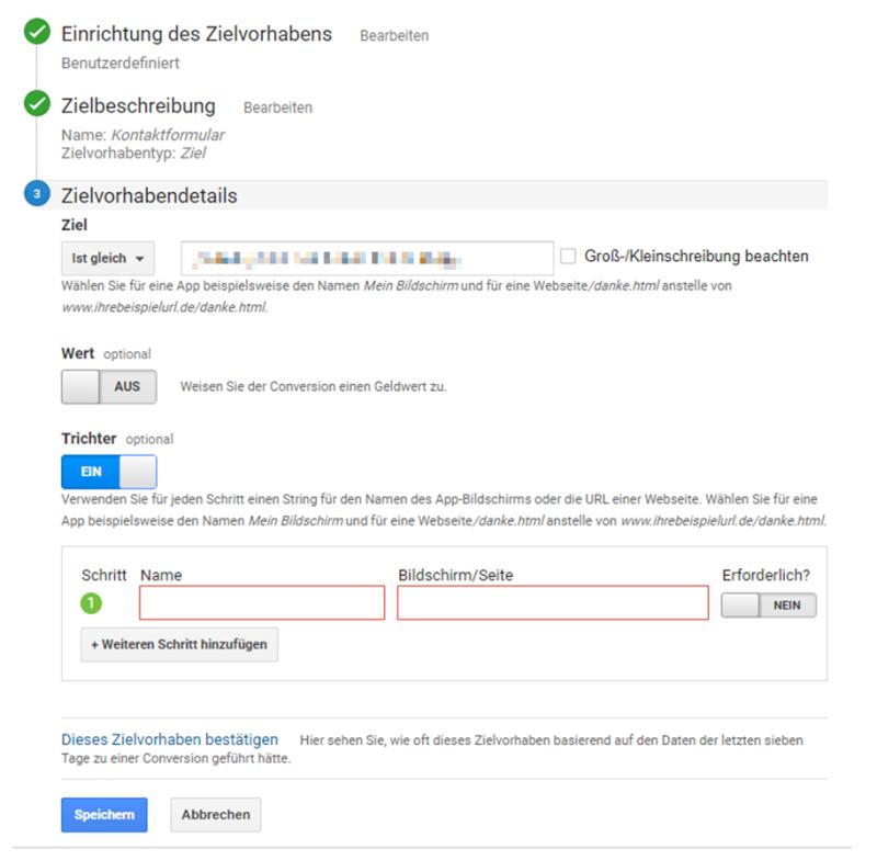 Ziele einrichten in Google Analytics