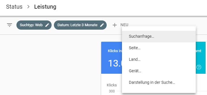 Abfragefilter in der Google Search Console