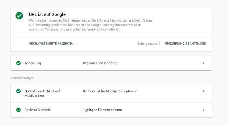 Abfrage in der Google Search Console, ob die URL bereits indexiert wurde