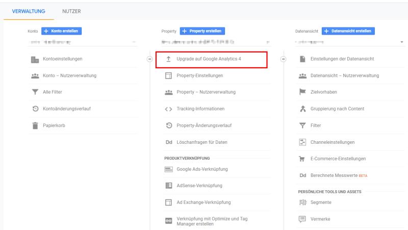 Die Upgrade-Möglichkeit in der Verwaltungsoberfläche der alten Google Analytics