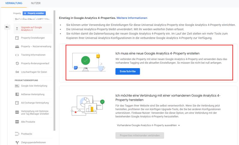 Erstellung einer neuen Google Analytics 4 Property