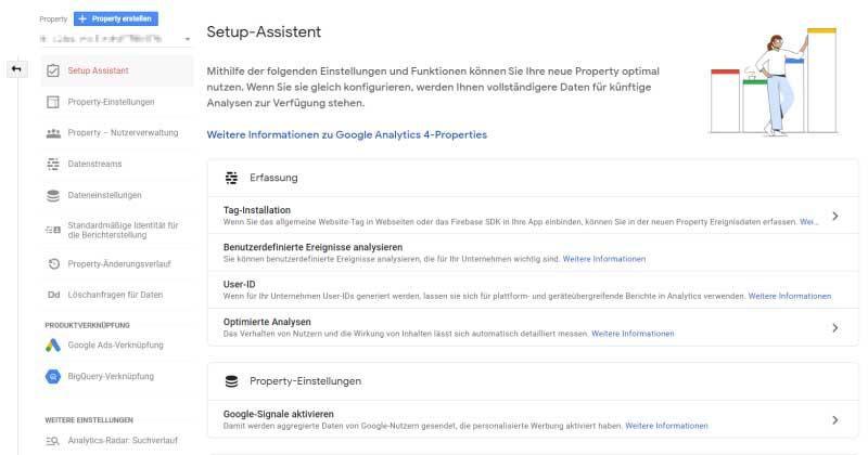 Der Setup-Asssistent von Google Analytics 4