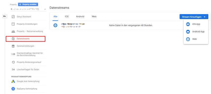 Der Datenstream wird automatisch erstellt. Weitere lassen sich hinzufügen