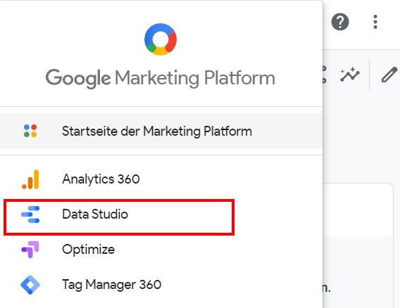 Das DataStudio in Google Analytics aufrufen